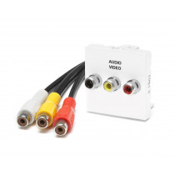 PLA.3RCARFF-02 Plastron equipe cable 3 RCA Femelle / 3 RVB Femelle de 0.2 m