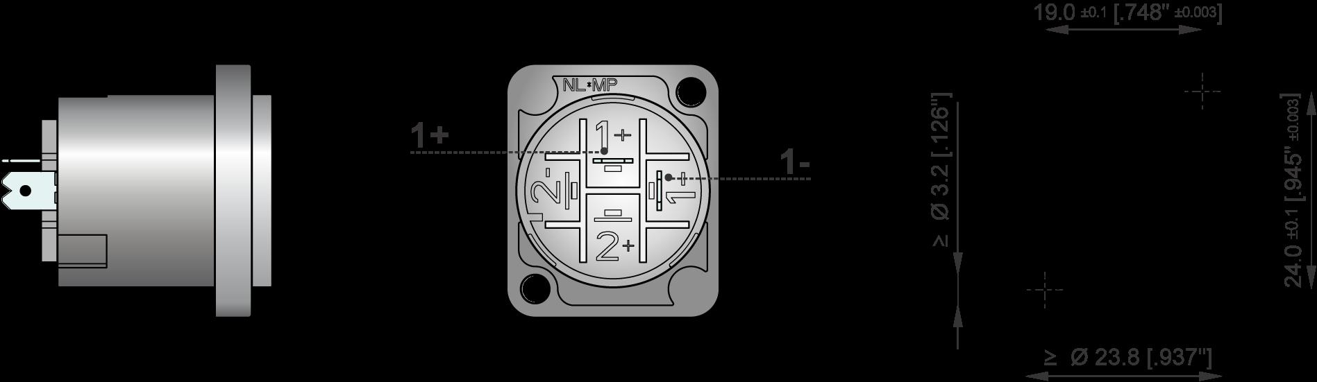 Neutrik NL2MP Embase 2 points Assemblage